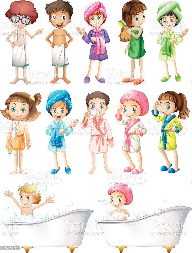 Happy children in bathrobe vector art illustration