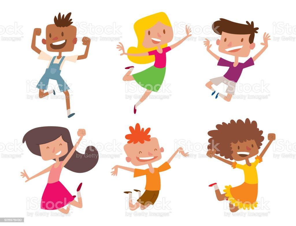Glückliche Kinder In Verschiedenen Positionen Großer Vektor Springen ...