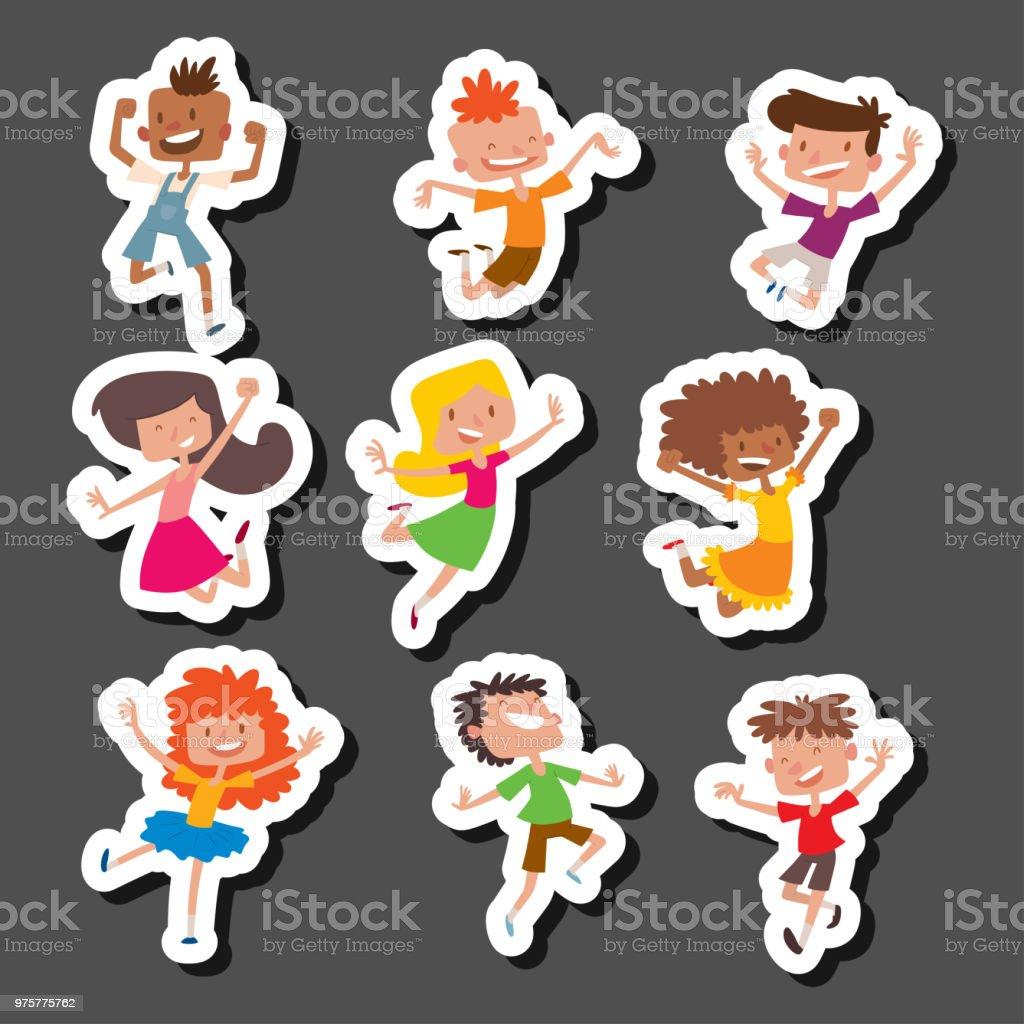 Glückliche Kinder in verschiedenen Positionen großer Vektor springen fröhlich Kindergruppe und lustige Cartoon Kinder fröhlich Team Lachen wenig Menschen Zeichen - Lizenzfrei Baby Vektorgrafik