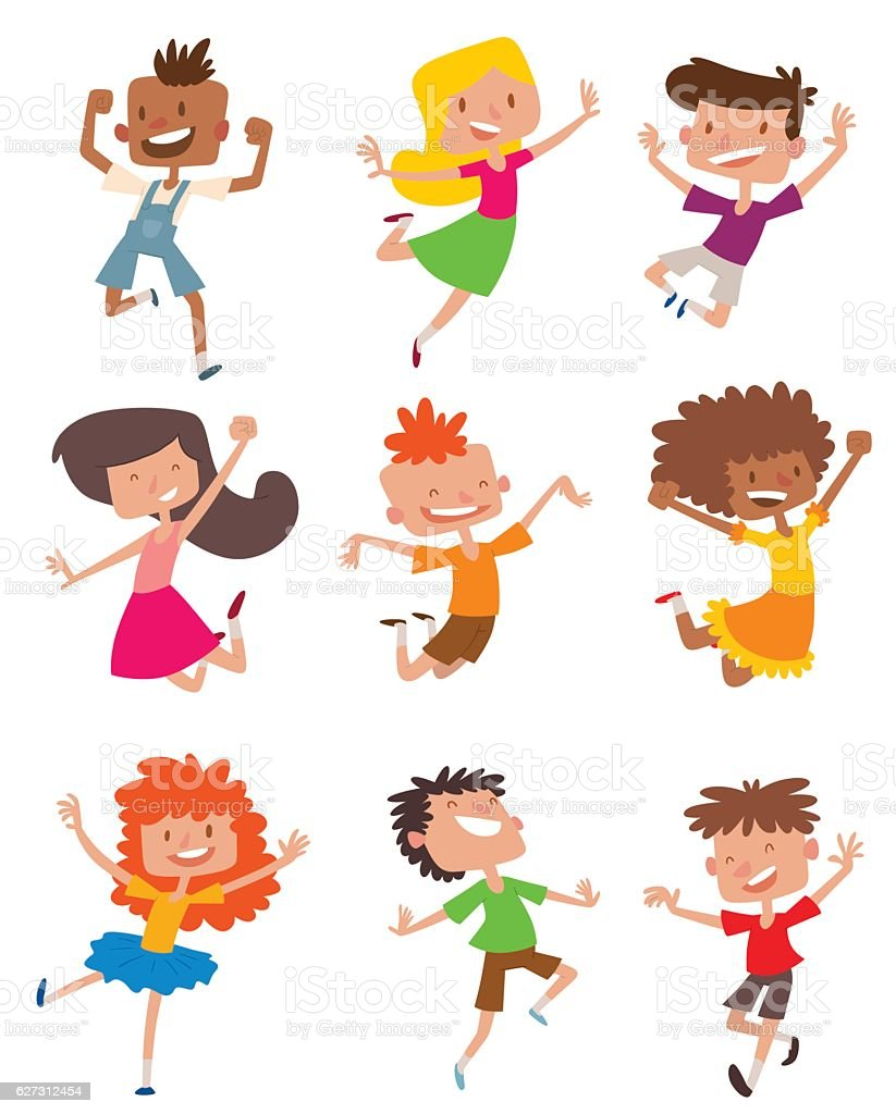Happy children in different positions vector set. - ilustración de arte vectorial