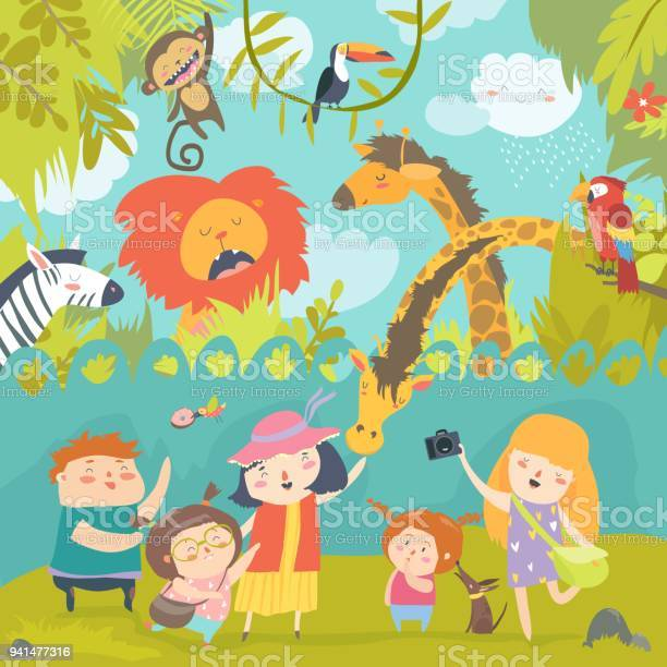 Happy children in zoo with wild african animals vector id941477316?b=1&k=6&m=941477316&s=612x612&h=5k zzttlygojzscc5dfugv6tnfxzo9nkbee6zuyi2ue=