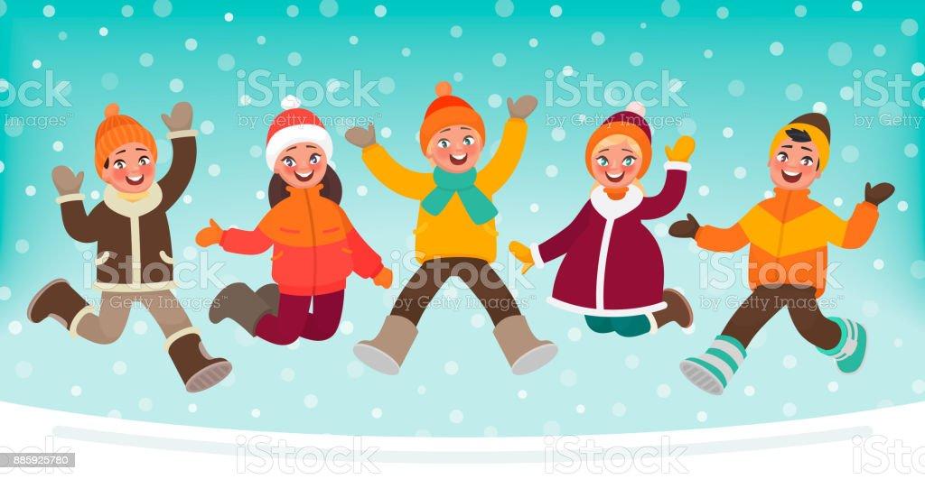 Happy children jumping on a winter background. Vector illustration in cartoon style vector art illustration