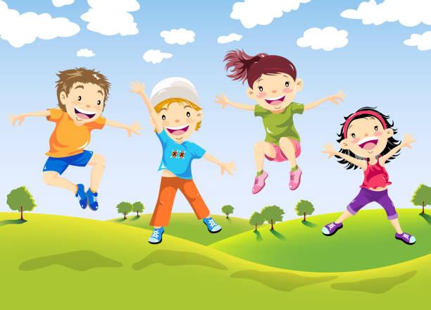 Happy Children Jumping on Farm vector art illustration