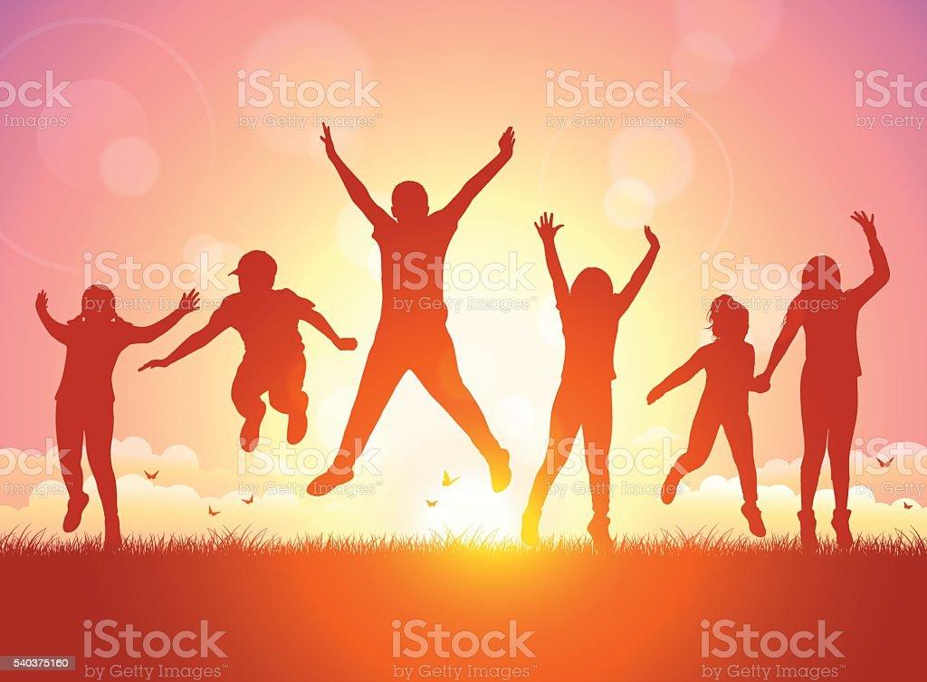 Happy Children jumping on Sunset vector art illustration