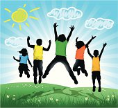 Vector illustration silhouettes of happy children jumping with coloured T-Shirt. Hi-Res jpg included.