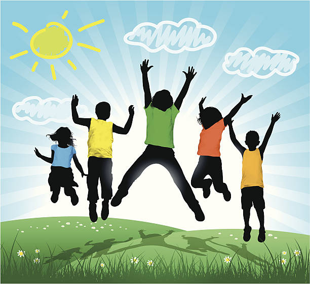 illustrations, cliparts, dessins animés et icônes de heureux enfants sauter - nuage 6
