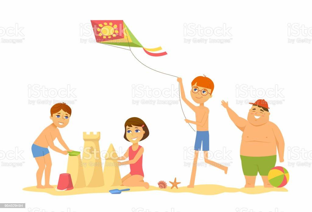 ビーチで幸せな子供漫画人キャラクター イラスト アイデアのベクター