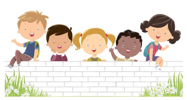 stockillustraties, clipart, cartoons en iconen met gelukkige kinderen op de witte muur - kinderdag