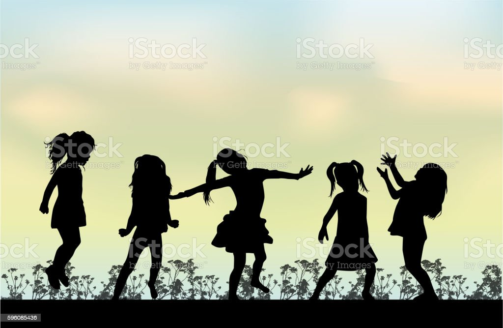 Happy children play outside. royalty-free happy children play outside stock vector art & more images of activity