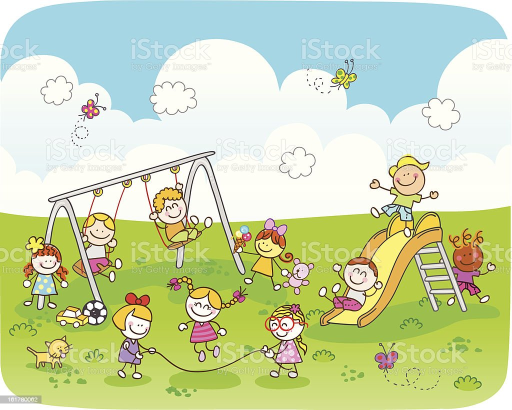 happy children playing at park cartoon illustration vector art illustration
