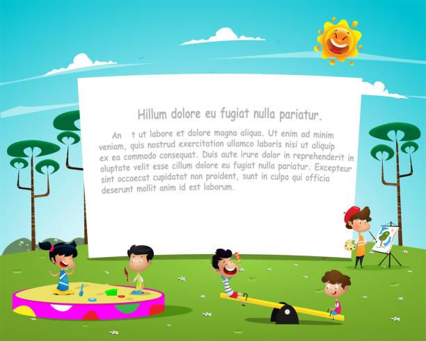 Happy children playing in playground illustration. vector art illustration