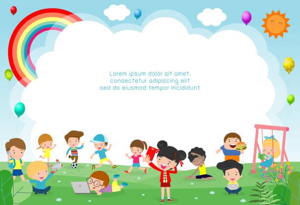 ilustrações, clipart, desenhos animados e ícones de crianças felizes que jogam no campo de jogos. molde para anunciar o folheto. pronto para a sua mensagem. ilustração do vetor do fundo - dia das crianças