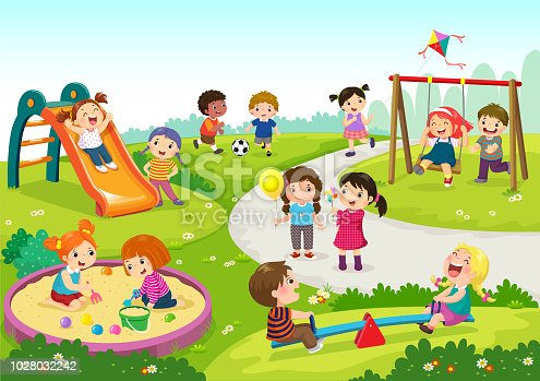 Vector illustration of happy children playing in playground