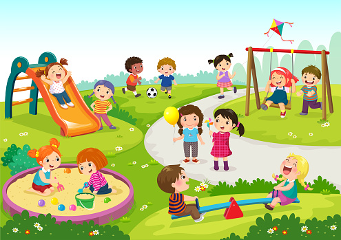 Happy children playing in playground clipart