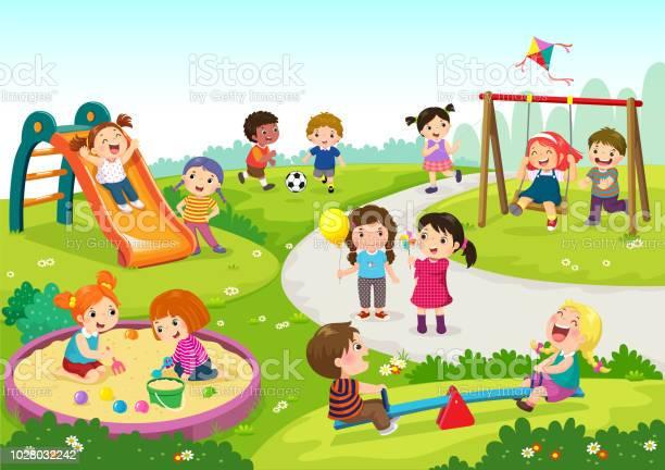 Happy children playing in playground vector id1028032242?b=1&k=6&m=1028032242&s=612x612&h=jkdxnhbkakp3qmpvshpwr0fdbjey0nlkhkgjhqzrg9o=