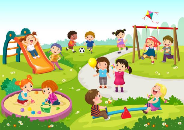 glückliche kinder auf spielplatz - kind stock-grafiken, -clipart, -cartoons und -symbole