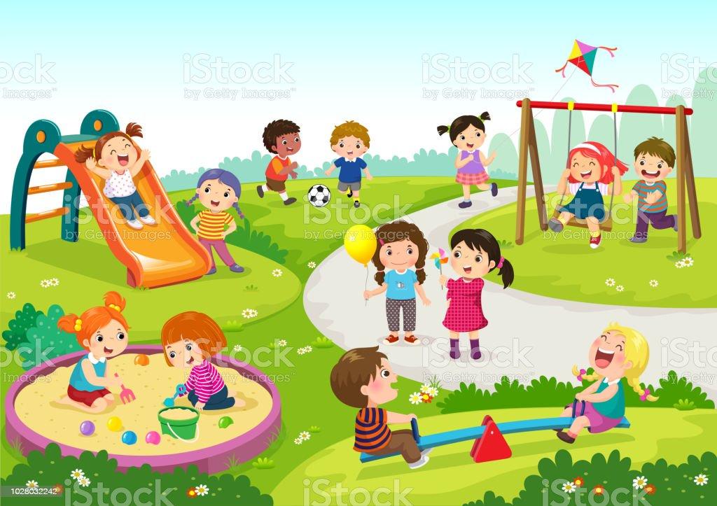 Felizes crianças brincando no parque - ilustração de arte em vetor