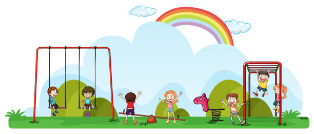 happy children playing in playground - monkey bars stock illustrations, clip art, cartoons, & icons