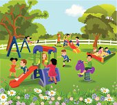 vector illustration of happy children having different leisure activities in the playground