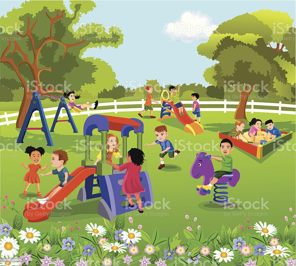 happy children playing in the courtyard vector art illustration