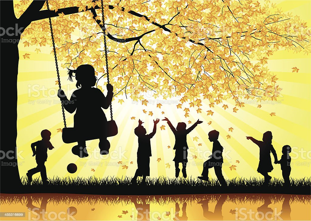 Happy Children Playing in the leaves. vector art illustration
