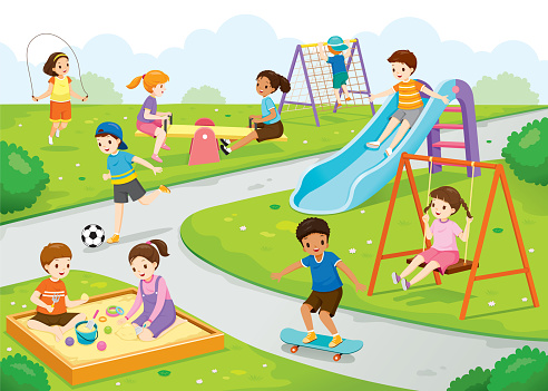 Happy Children Playing Joyfully On The Playground