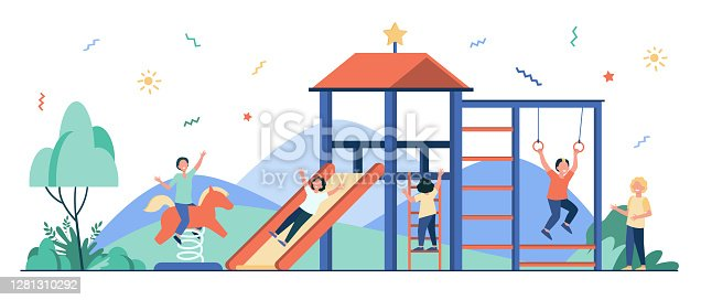 Happy children playing on playground with friends
