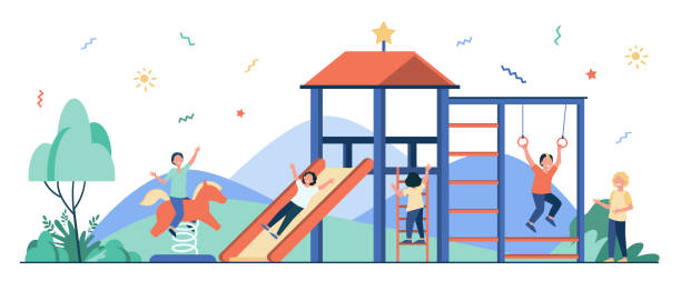 stockillustraties, clipart, cartoons en iconen met gelukkige kinderen die op speelplaats met vrienden spelen - mini amusementpark