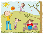 Happy children playing outside in the park - original hand drawn illustration