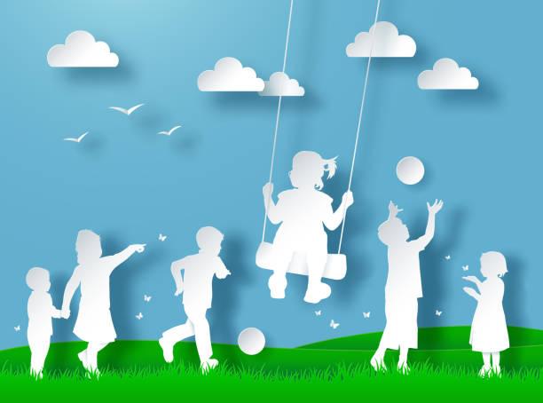 glückliche kinder spielen. scherenschnitt-stil - kind schaukel stock-grafiken, -clipart, -cartoons und -symbole