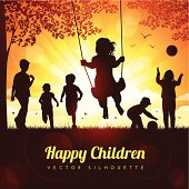 Vector illustration silhouettes of happy children playing.
