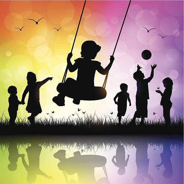 ilustrações de stock, clip art, desenhos animados e ícones de feliz crianças a brincar - balouço