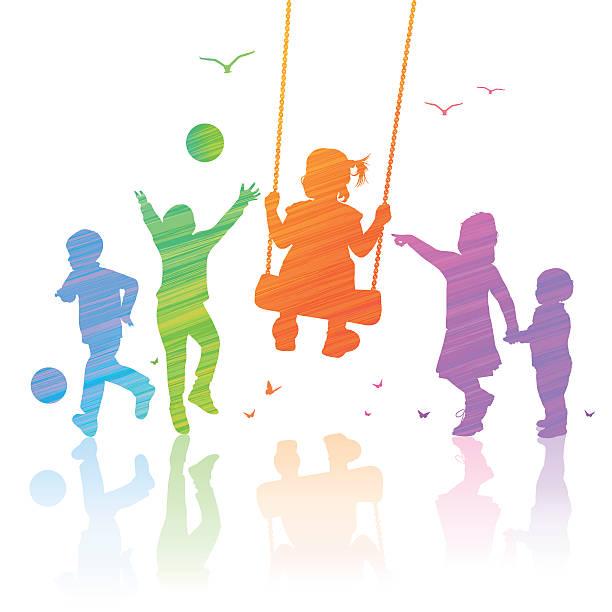 glückliche kinder - kind schaukel stock-grafiken, -clipart, -cartoons und -symbole