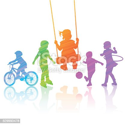 Vector illustration silhouettes of children playing in the park. Hi-Res jpeg included 5200 x 5200 px.
