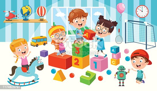 istock Happy Children Playing With Toys 1174825791
