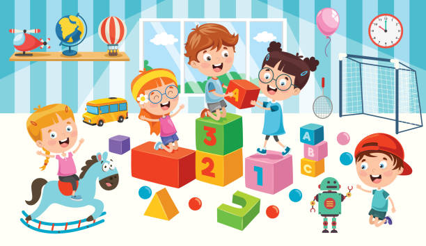 happy children playing with toys - zabawka stock illustrations