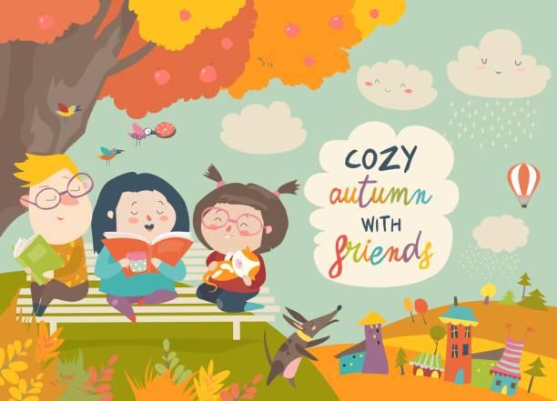 bildbanksillustrationer, clip art samt tecknat material och ikoner med glada barn läsa böcker i höst park - children autumn