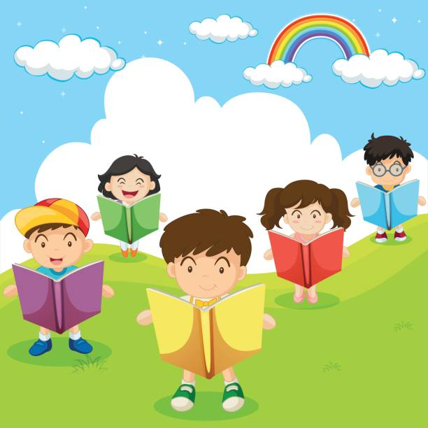 Happy Children Reading Books In Park Stock Illustration - Download ...