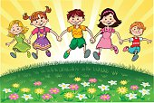 Cartoon illustration of a group of happy kids running and jumping high as they hold hands.