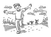 Happy Children Running Outdoors Drawing