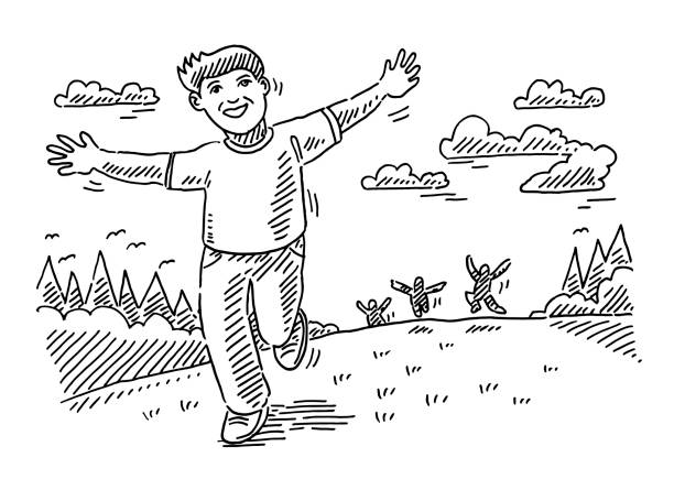 Happy Children Running Outdoors Drawing Hand-drawn vector drawing of Happy Children Running Outdoors. Black-and-White sketch on a transparent background (.eps-file). Included files are EPS (v10) and Hi-Res JPG. running stock illustrations