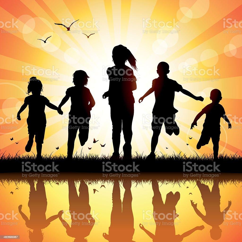 Happy Children Running vector art illustration