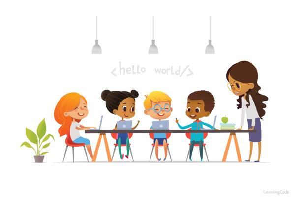 幸せな笑顔の子どものノート パソコンに座っていると学校の授業中にプログラミングの学習それらの近くに立っている教師。子供の概念のためのコーディング。ウェブサイト、広告、ポスターのベクトル図です。 - 語学の授業点のイラスト素材/クリップアート素材/マンガ素材/アイコン素材