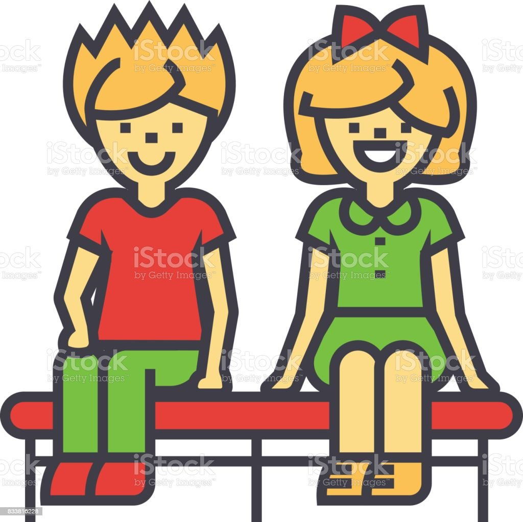 Happy children sitting on bench, boy and girl, young love couple concept. Line vector icon. Editable stroke. Flat linear illustration isolated on white background vector art illustration