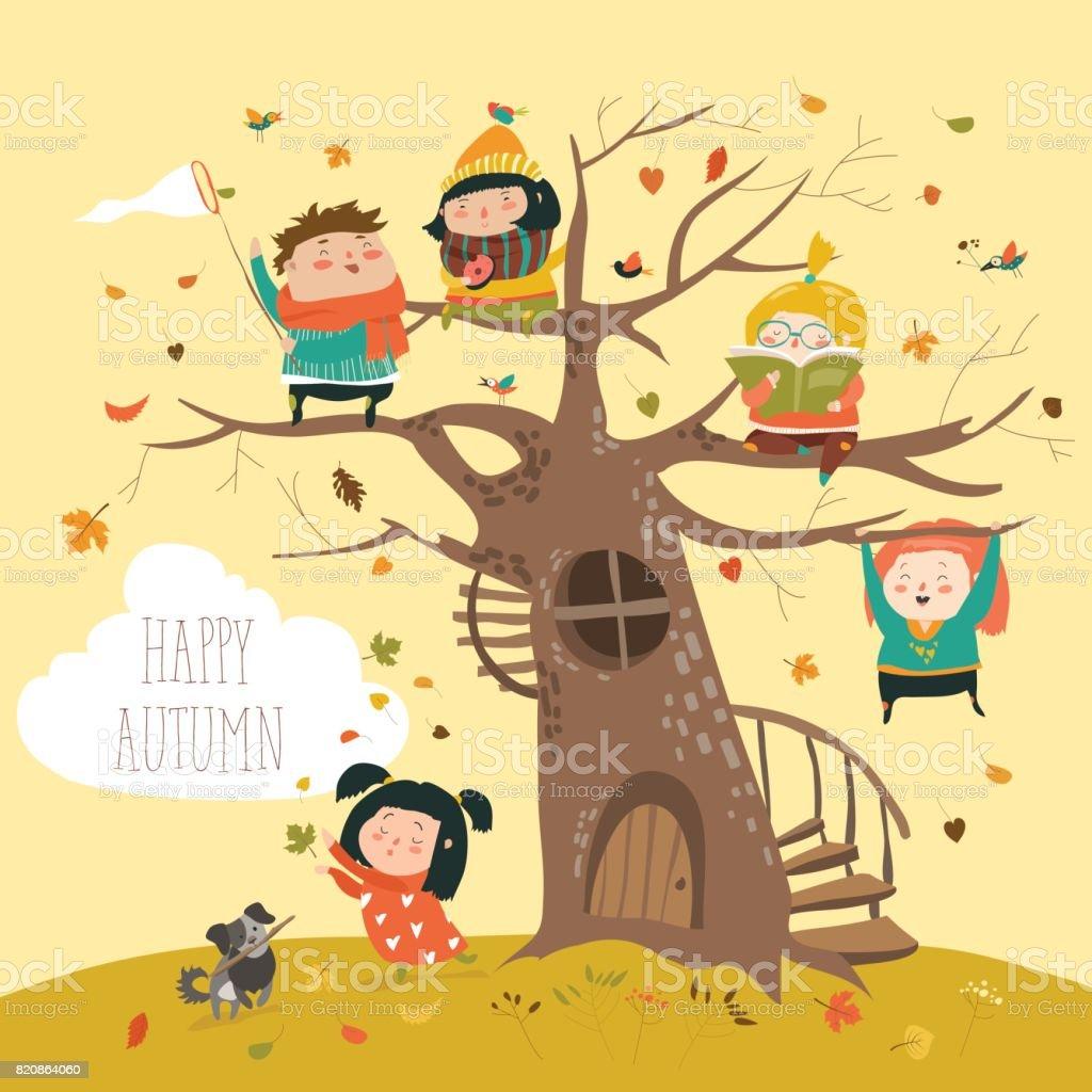 Enfants heureux assis sur arbre en automne parc - Illustration vectorielle