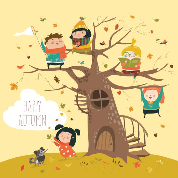 happy children sitting on tree in autumn park - kids playing in rain stock illustrations, clip art, cartoons, & icons