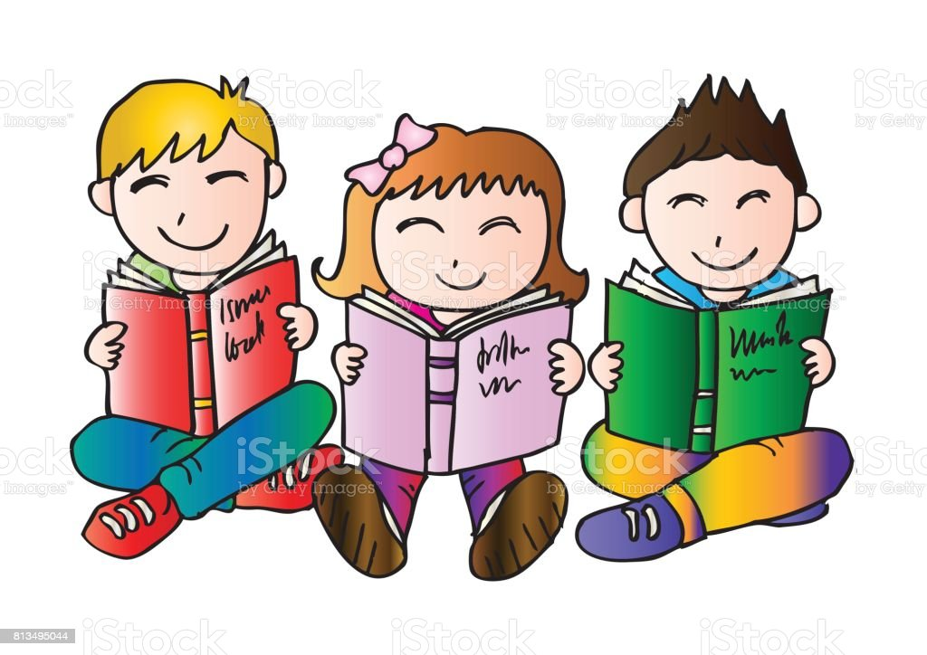 Children Reading Stock Vector Art More Images Of Baby: Happy Children Sitting While Reading Books Stock Vector