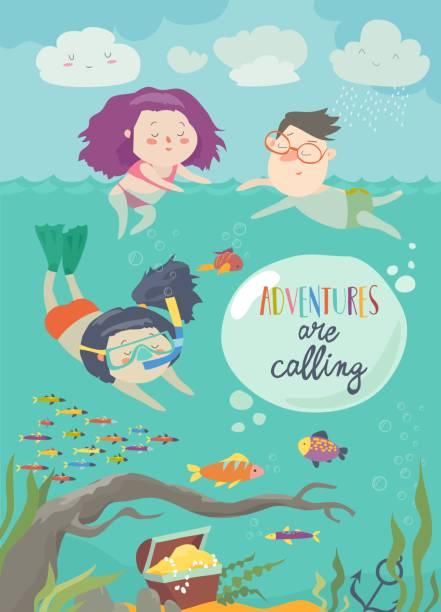 glückliche kinder, die schwimmen im meer. mädchen tauchen und blick auf die fische - schwimmpflanzen stock-grafiken, -clipart, -cartoons und -symbole
