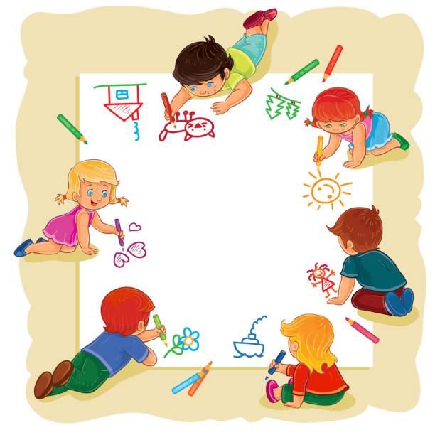 Happy children together draw on a large sheet of paper – Vektorgrafik