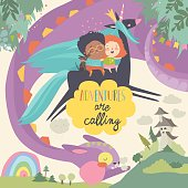 Happy children, unicorn and funny monster. Adventures are calling. Vector illustration